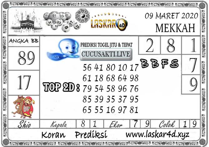 Prediksi Togel MEKKAH LASKAR4D 09 MARET 2020