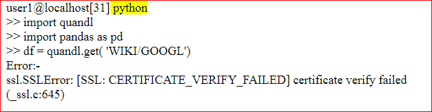 SSL certificate verify failed on