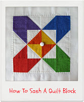 How To Sash A Quilt Block by www.madebyChrissieD.com