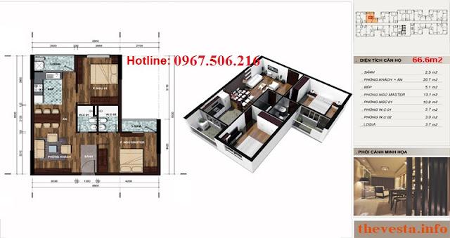 Thiết kế căn hộ 66m2: 2 ngủ+ 2 vệ sinh dự án The Vesta