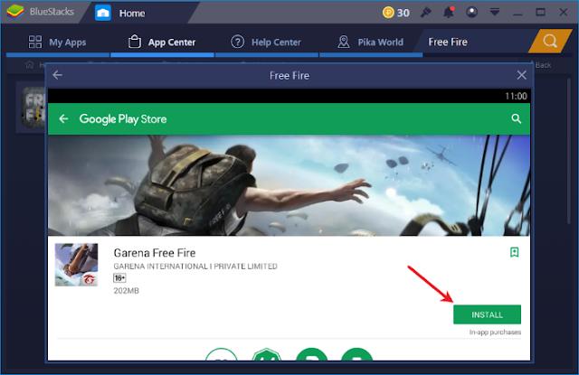 لعبة Free Fire على الكمبيوتر تشغيل pc