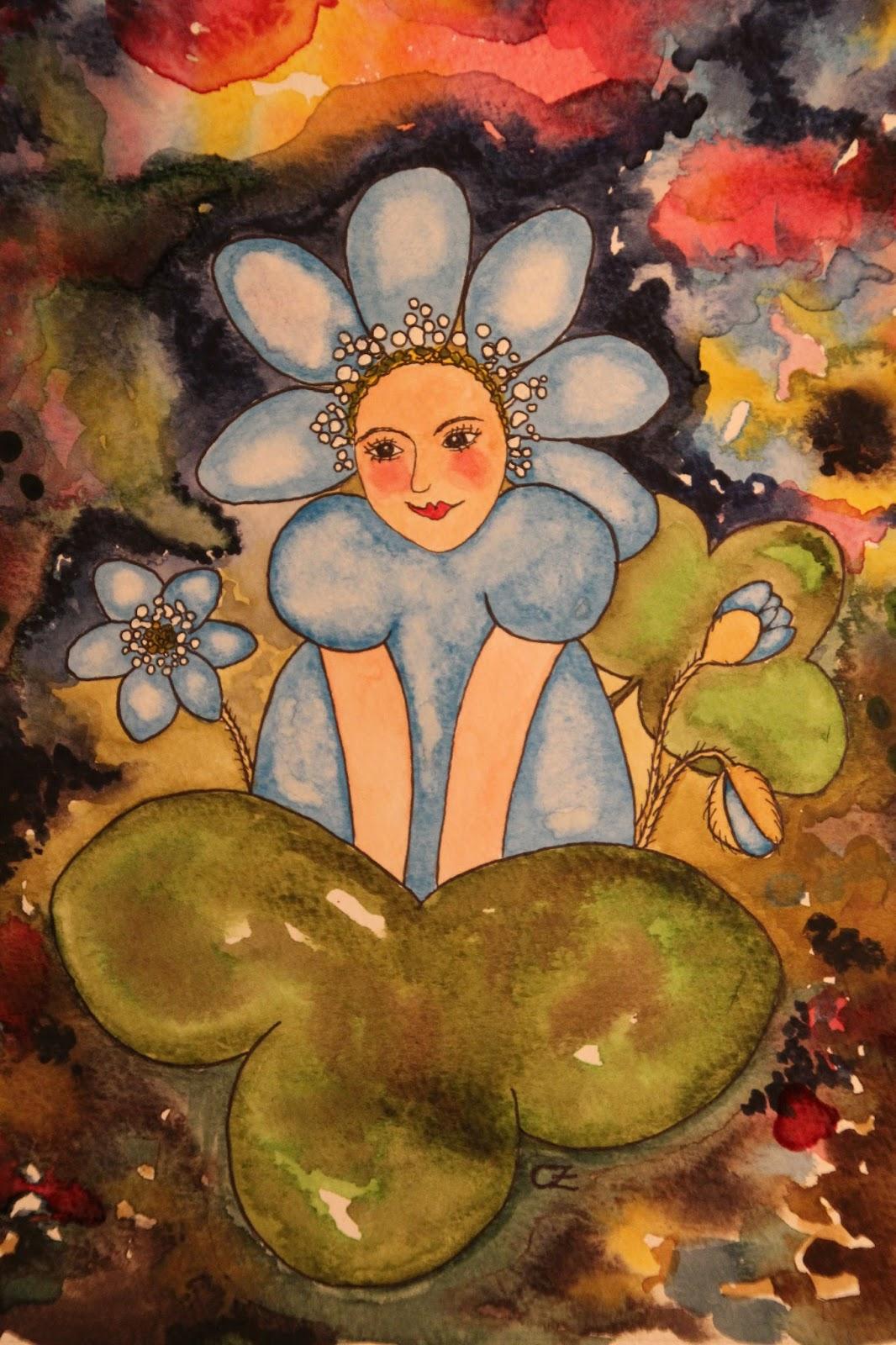 blåsippa akvarell carolin zander