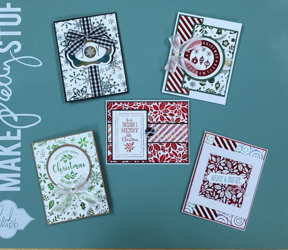 cards using lots of foil bows buttons class fee is 22 plus tax you will need to bring your basic tools adhesives please call email or send a - Foil Christmas Cards