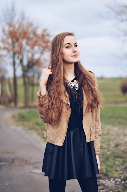BEIGE JACKET & LEATHER SKIRT