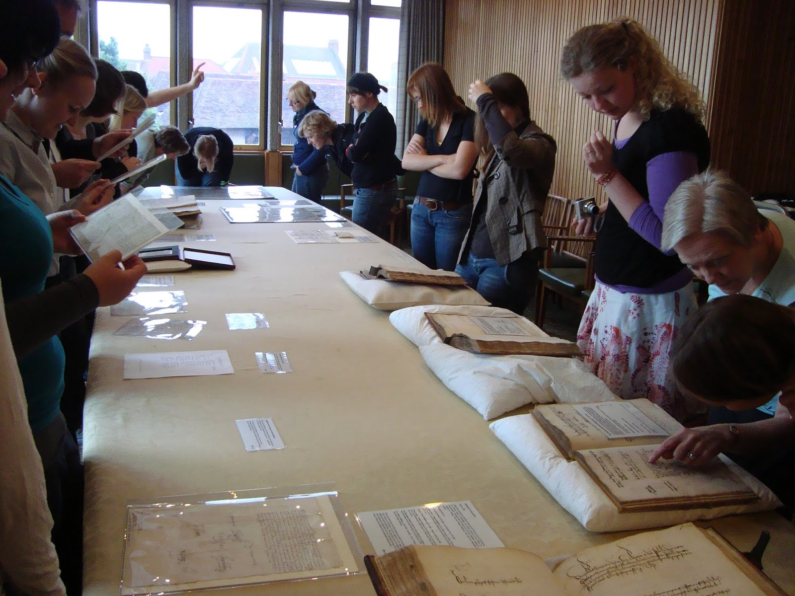 My study group inspecting shakespearean documents