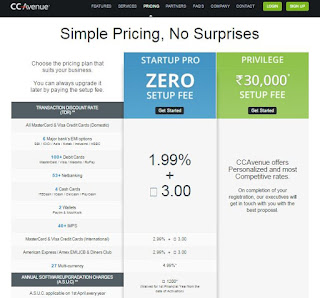 CCavenue Pricing details page