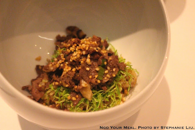 Truffle Bulgogi with White Truffle Pate and Wild Sesame at Jungsik