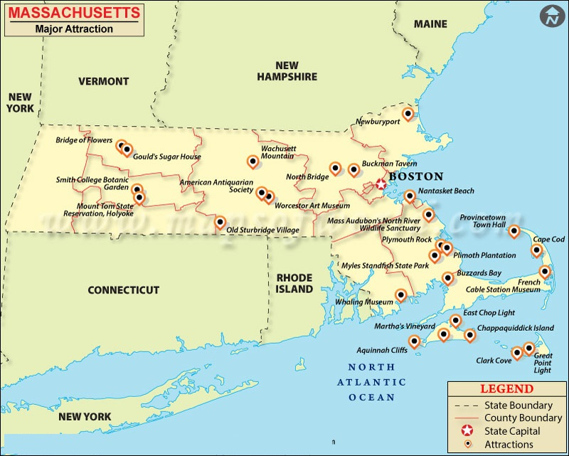 Map Of Massachusetts State Map Of America - Map of massachussets