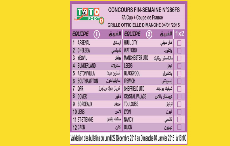 COUNCOURS FIN-SEMAINE N 286FS