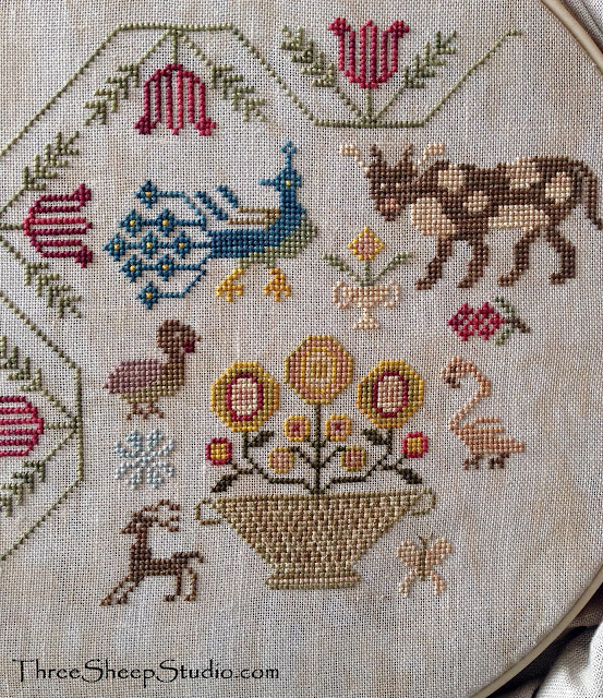 Counted Cross Stitch by Rose at ThreeSheepStudio.com - Design by Beth Twist of Heartstring Samplery