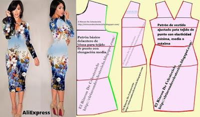 Transformacion delantero de blusa en vestido ajustado, escote en V para tejido de punto