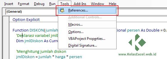 Tools References Visual Basic Editor