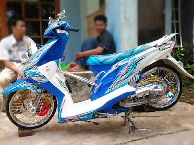 Modif Beat Fi Warna Putih Biru Motor Kontes Airbrush