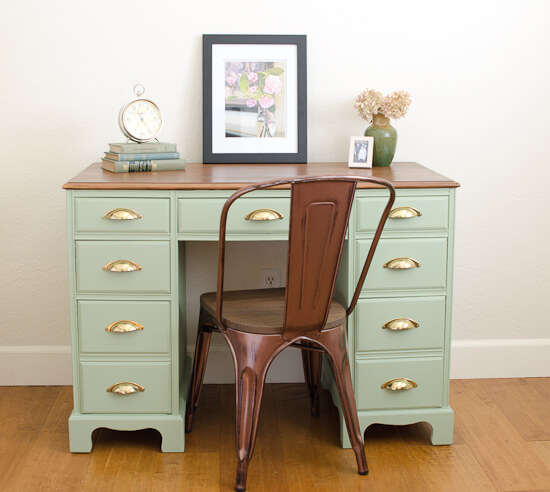 9 Creative Desk Makeovers - Sage Green Vintage Desk