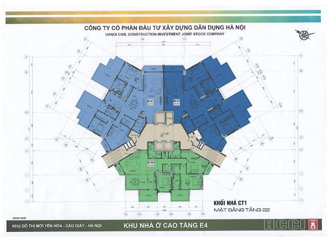 mặt bằng tòa ct1 chung cư park view city yên hòa tầng 22