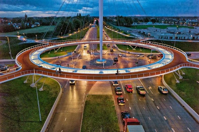 World's first suspended bicycle path roundabout