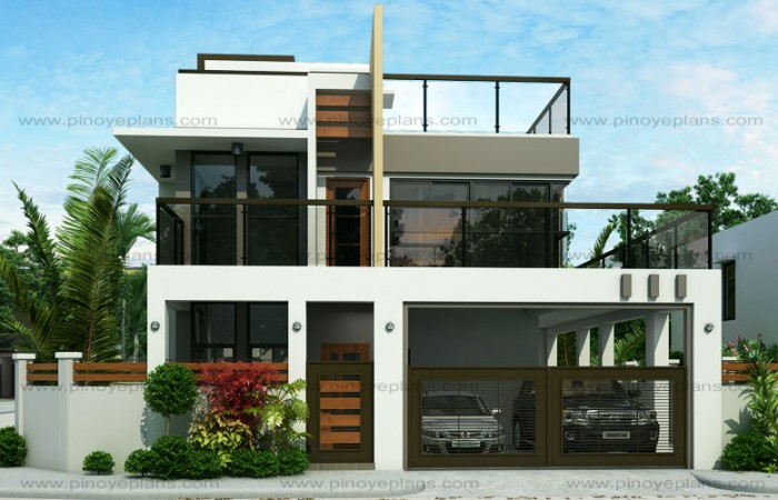 50 images of 15 two storey modern houses with floor plans for Modern 2 storey house