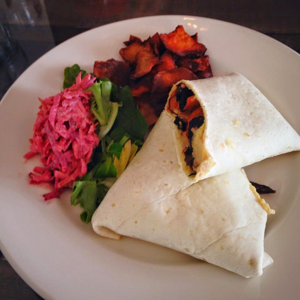 Roast vegetable wrap at The Coffee Apothecary Udny Aberdeenshire