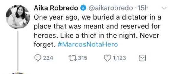 "UST alum slams Aika Robredo for ""hyprocrisy"" of her anti-Marcos post"