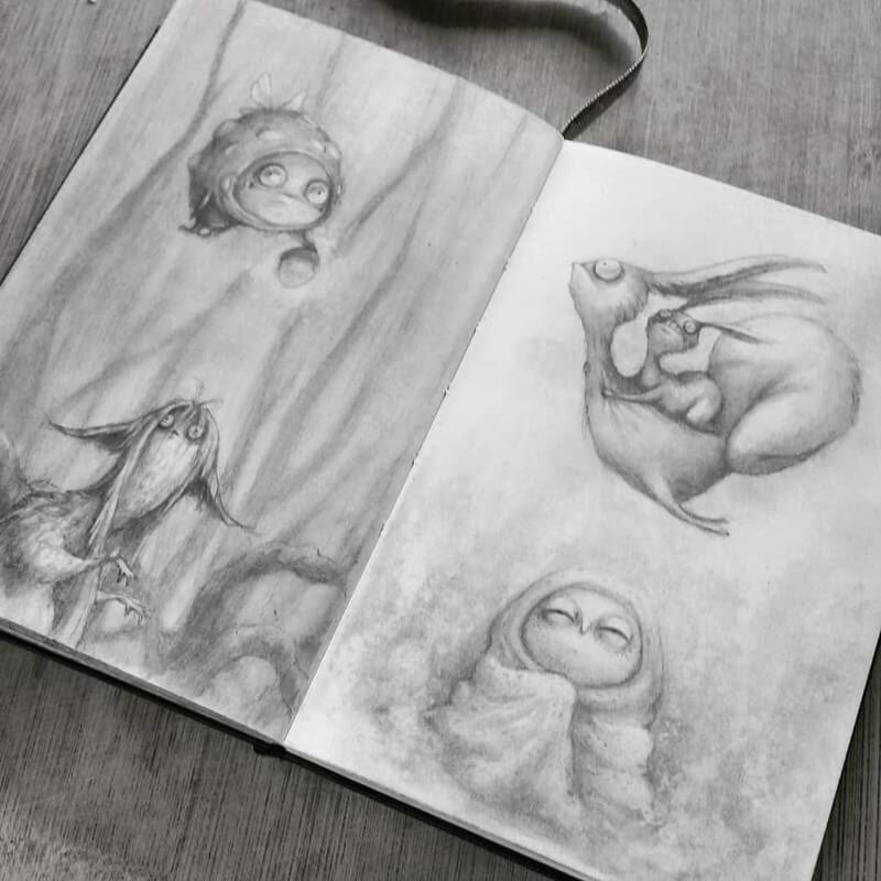 09-Stella-Bialek-Moleskine-Fantasy-Creatures-Drawings-www-designstack-co