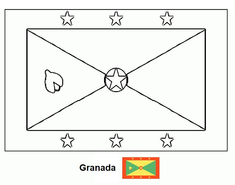 La cartografía: Bandera de Granada (país) para colorear