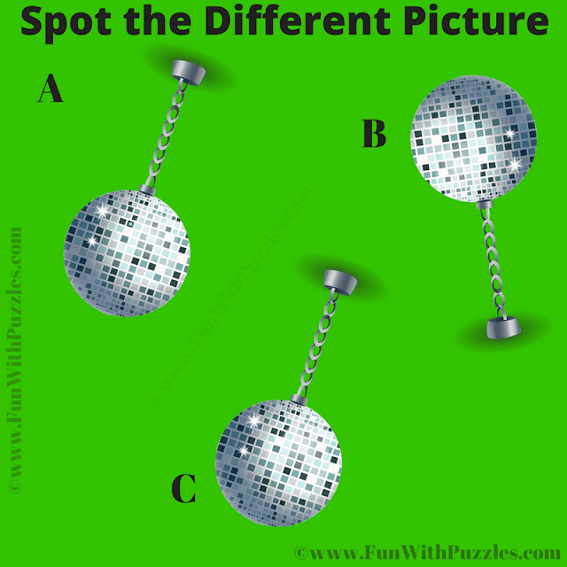 It is Picture Riddle in which one has spot the different ball among given three balls