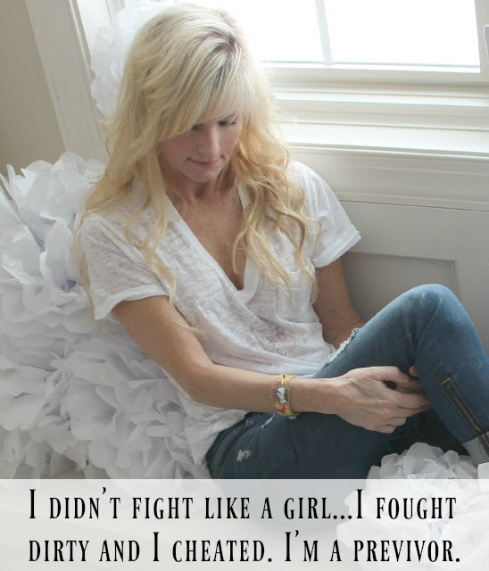 Breast cancer previvor. BRCA genetic mutation. An inspiring meme by Hello Lovely Studio. I didn't fight like a girl I fought dirty and I cheated I'm a previvor