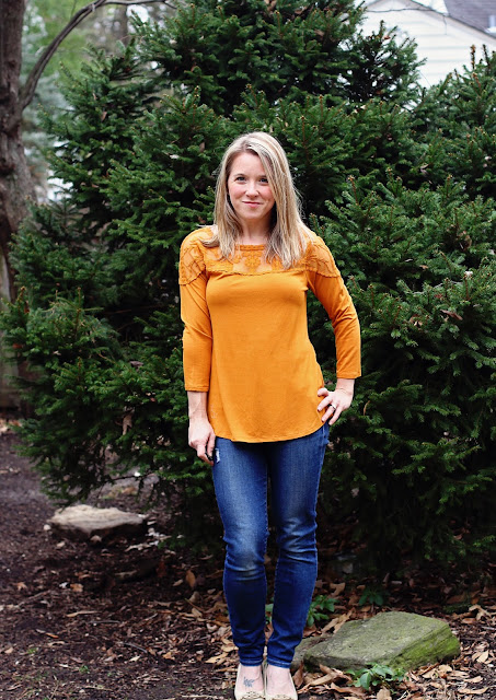 Stitch Fix Daniel Rainn Bethanie Lace Yoke Knit Top mustard1
