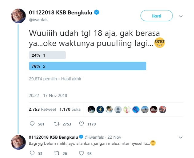 Enggak Kapok! Iwan Fals Kembali Bikin Polling, Nomor 2 Unggul Telak
