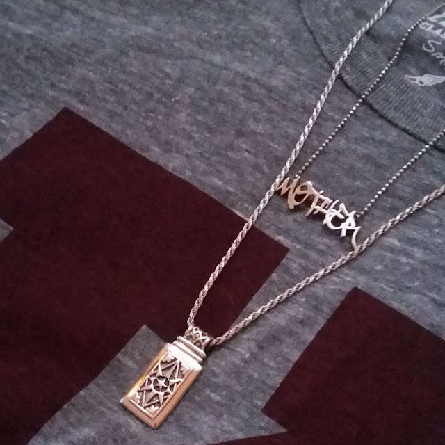 Natalie Zaman Graffiti Mother Necklace and Amy Zerner Ace of Pentacles Tarot Necklace