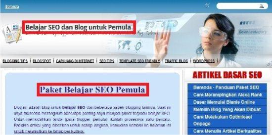 Tampilan homepage dari blog trik mudah SEO
