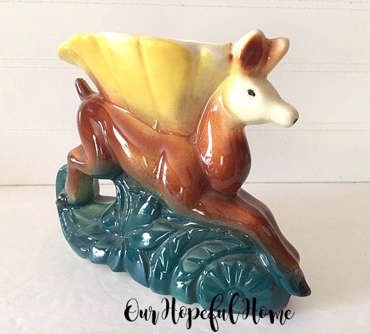 vintage jumping deer planter retro pottery