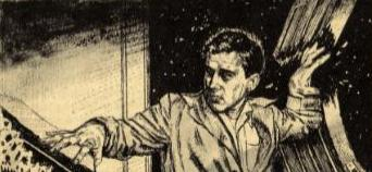 Illustration accompanying a magazine appearance of the short story Adjustment Team by Philip K Dick. Picture shows the man whose office building has gone haywire.