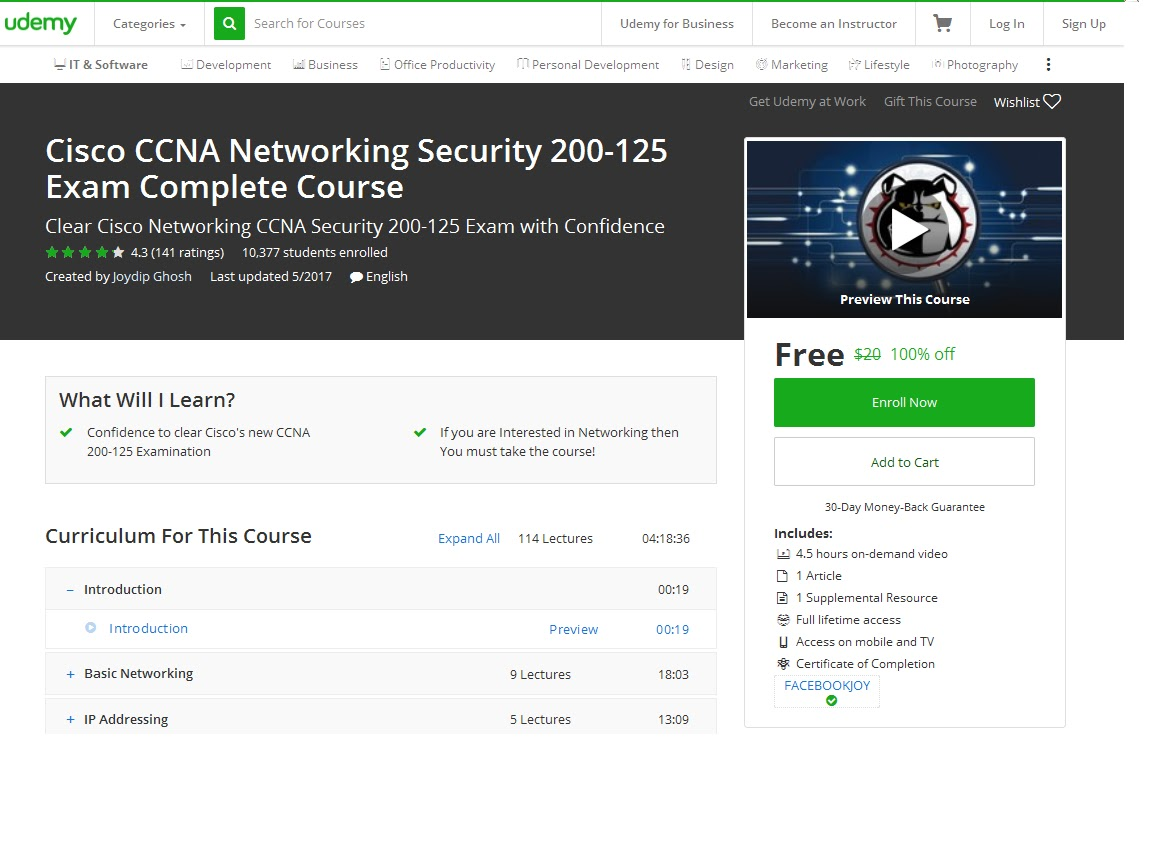 Cisco CCNA Networking Security 200-125 Exam Complete Course-UDEMY