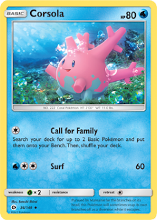 Corsola Sun and Moon Pokemon Card