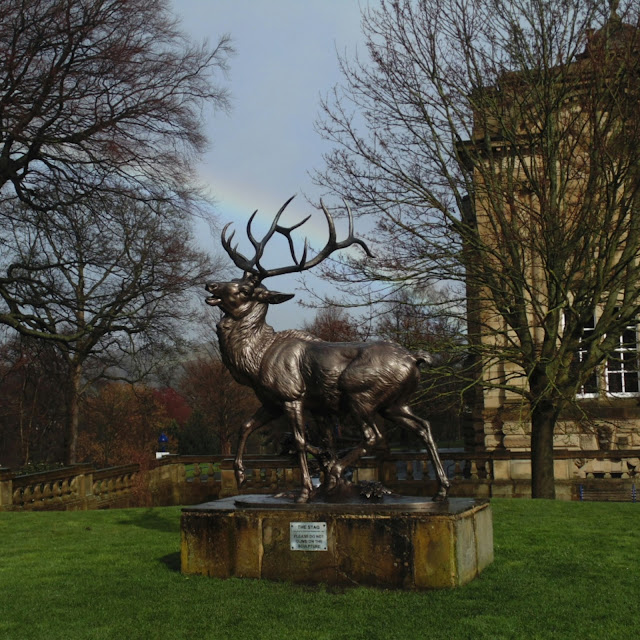 Lister park, stag sculpture, rainbow