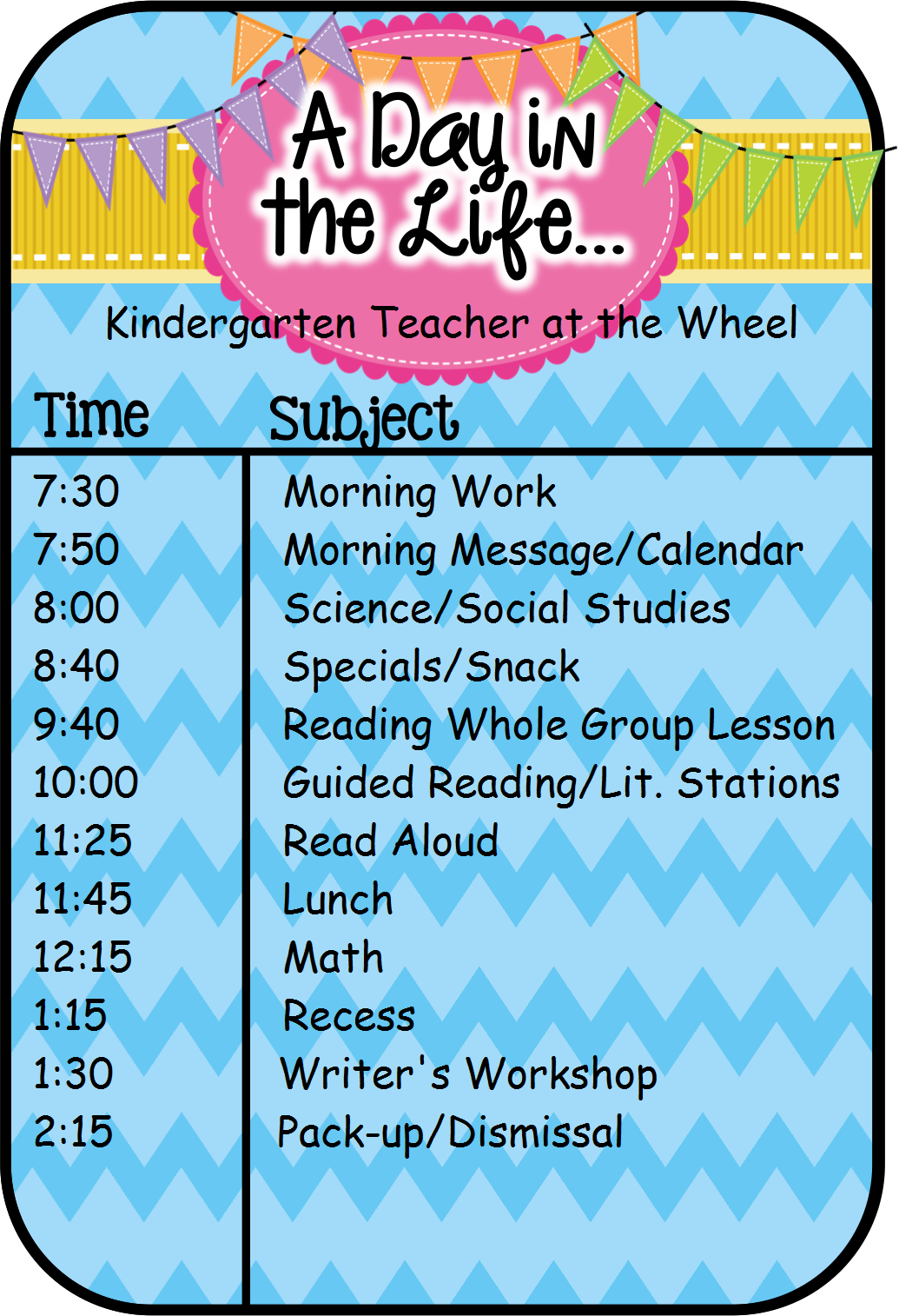Teacher At The Wheel A Day Our Way A Classroom Schedule