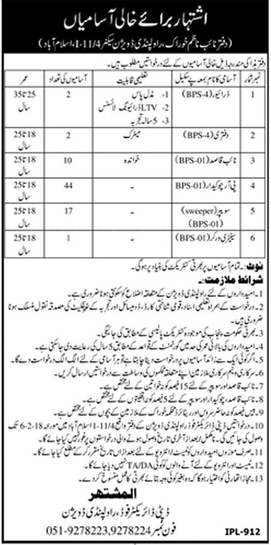Jobs In Food Department Rawalpindi Division Jan 2018