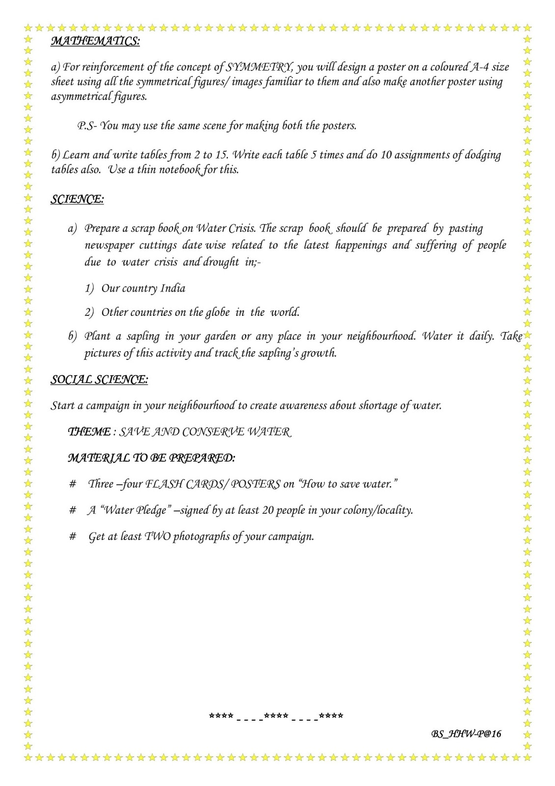 dps indirapuram holiday homework for class 6
