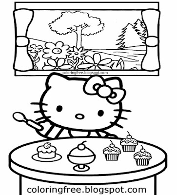 Young ladies baking printable clipart table lovely cupcake Hello Kitty cake coloring sheet for girls