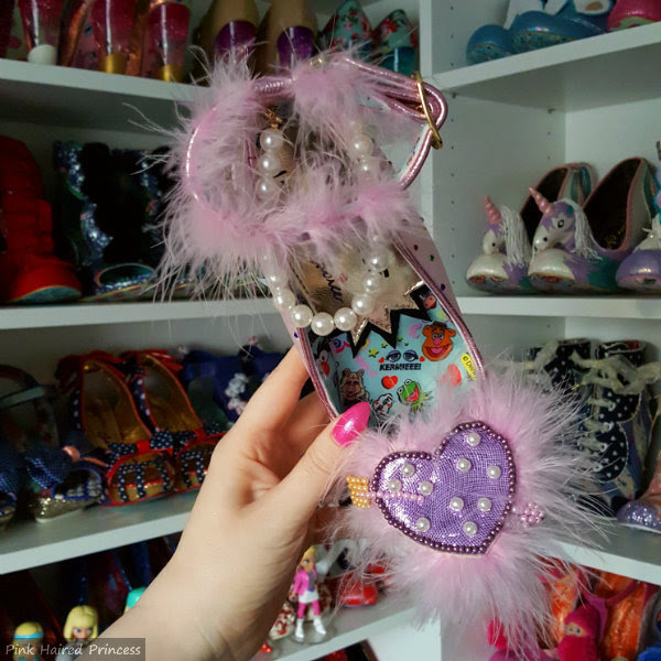 Fluffy pearl heart on pink Miss Piggy shoe by Irregular Choice