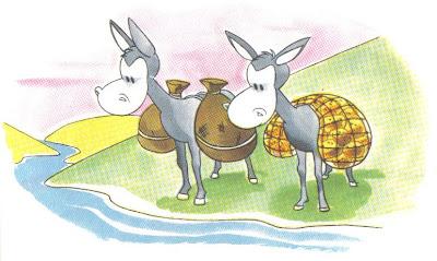 los dos burros fabula