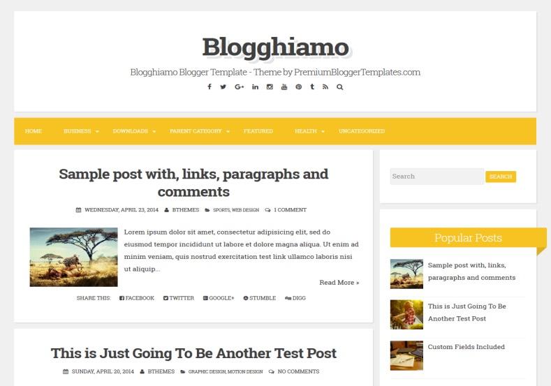 Demonstração Tema Blogghiamo Responsivo para Blogger 2018