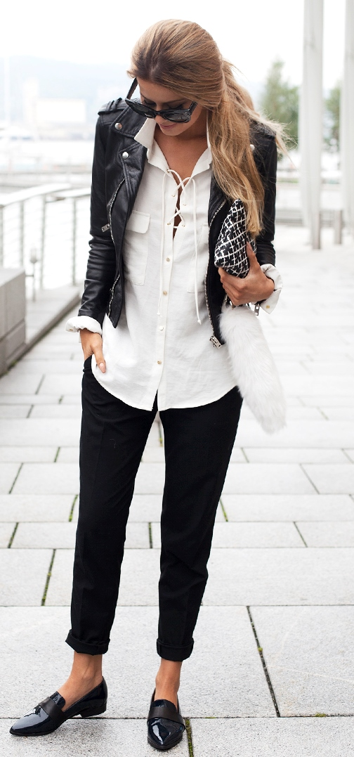 fall casual office style / leather jacket + lace up shirt + bag + pants + loafers