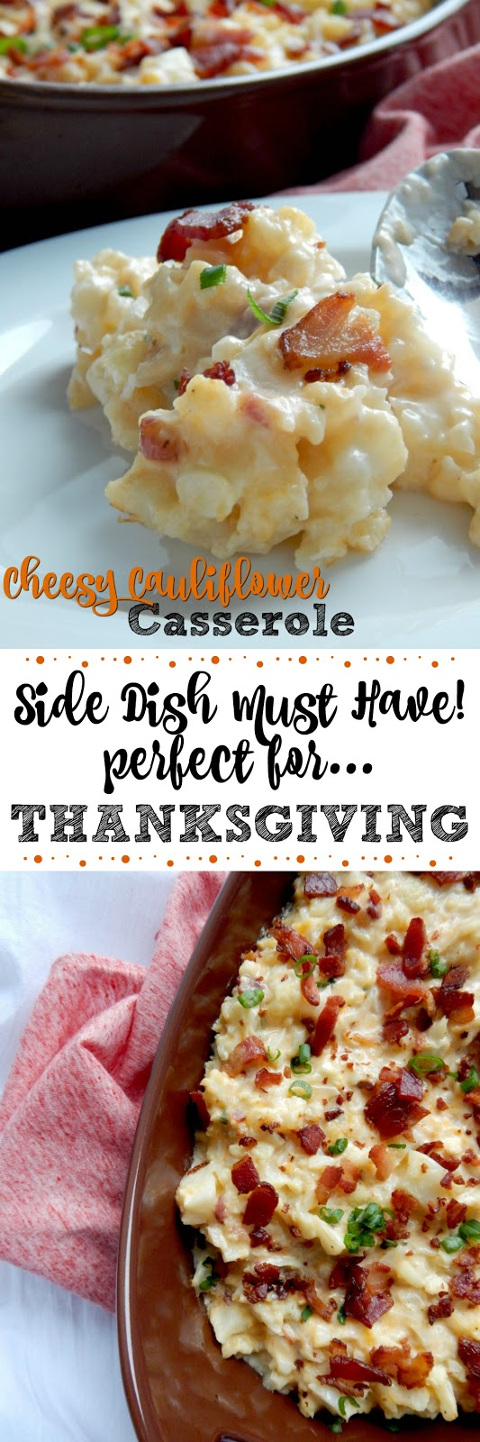 Cheesy Cauliflower Casserole...the perfect holiday side dish!  Built like a loaded baked potato, but swapped with steamed cauliflower.  Cheesy, salty, bacon-y...the best side dish of the year! (sweetandsavoryfood.com)