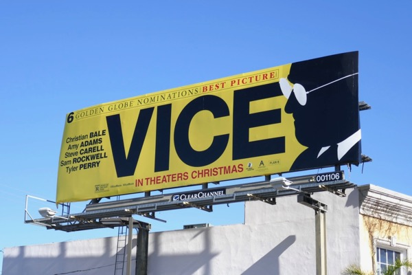 Vice Golden Globes billboard