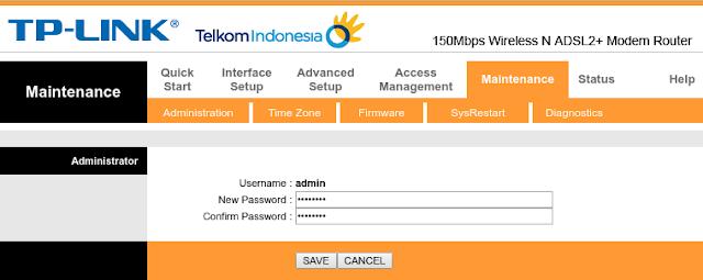 Ubah password admin untuk login