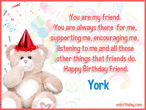 York Happy birthday friends always