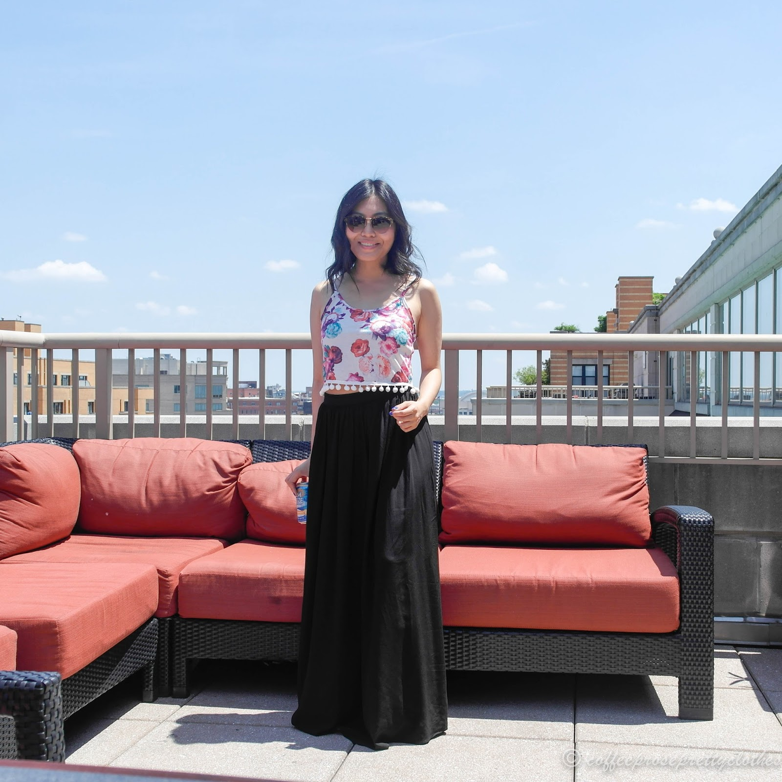 cropped tank and maxi skirt