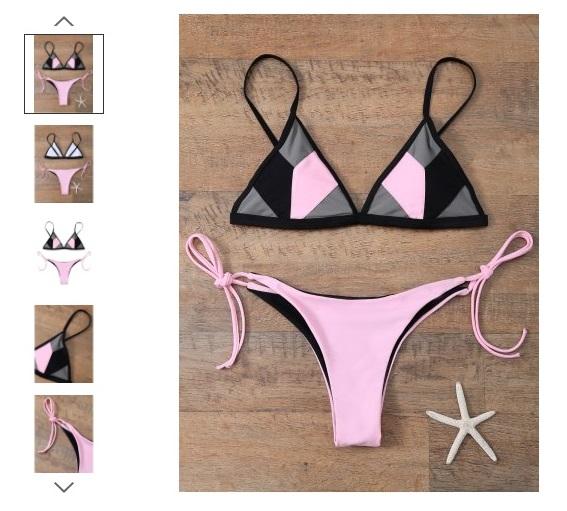 Patchwork V String Bikini Set